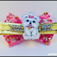 Pink Puppy Maltese Dog Hair Bow with Barrette Snap Clip.