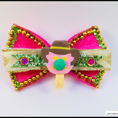 Bubble O Bill Hair Bow with Barrette Snap Clip.