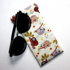 Padded Sunglasses Pouch in Cute Sloth Fabric
