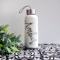 Stylish White Glass drink bottle Personalised for you. Gift giving idea.