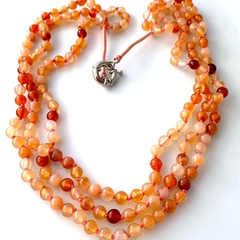 Genuine CARNELIAN Orange 6mm Beads Three Strands Necklace.