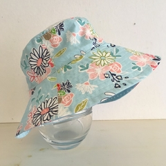 Girls summer hat in pretty blue floral fabric