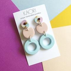 Polymer clay earrings, statement earrings in colour block