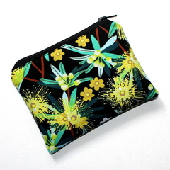 Small Coin Purse in Eucalyptus Floral Fabric