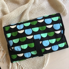 """Green bunting"" Baby travel change mat, nappy wallet clutch."