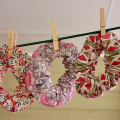 Handmade Pink Liberty Print Hair Scrunchies
