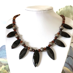 Genuine Banded AGATE and CARNELIAN, Necklace Finished with Magnet Connectors.