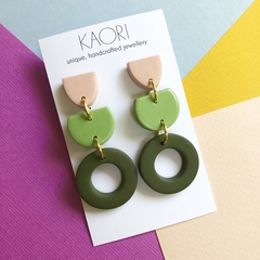 Polymer clay earrings, statement earrings in colour block