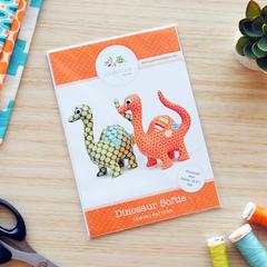 Dinosaur Pattern Soft Toy HARD COPY Paper Sewing Pattern for Dinosaur Softie