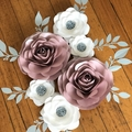 6-PIECE PAPER ROSES/ Nursery Paperflowers/ Baby Shower/ Bridal Shower