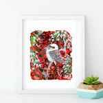 'Kookaburra'. A4 Reproduction Art Print of original mixed media painting.