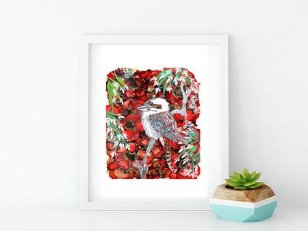 'Kookaburra'. A4 Reproduction Art Print of original mixed media painting.