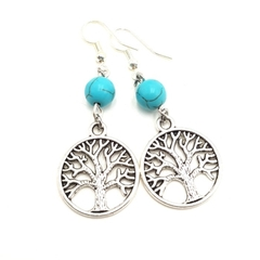 Tree of Life Earrings w turquoise  gemstone bead