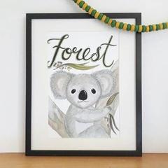 Personalised Boy Koala Print: Framed