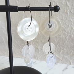 Statement Long button hoop earrings ( White & Clear , Modern Art deco Boho Cute)