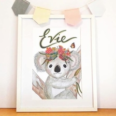 Personalised Girl Koala Print: Framed