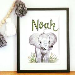 Personalised Elephant Nursery Print: Framed