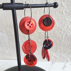 Statement Long button hoop earrings ( Red & Balck , Modern Art deco Unique )