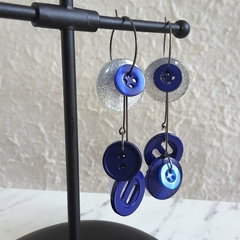 Statement Long button hoop earrings ( Blue White & Silver , Unique Art deco Art)