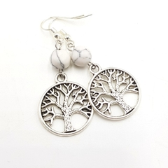 Tree of Life Earrings w marble gemstone bead