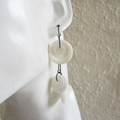 Statement Long button hoop earrings ( White , Art deco Avant garde Artsy Funky )