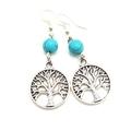 Tree of Life Earrings w turquoise  gemstone bead
