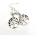 Tree of Life Earrings w marble gemstone bead