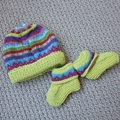 Citrus baby beanie and Matching Booties - up to 4 months - Hand knitted