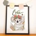Personalised Girl Koala Print: Framed