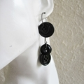 Statement Long button hoop earrings ( Black & Gray , Gothic Rock Funky Cool Art)