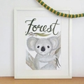 Personalised Boy Koala Print: Framed