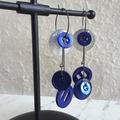 Statement Long button hoop earrings ( Blue White & Silver , Unique Art deco Art)