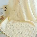 Cream Newborn Hearts & Bobbles Baby Blanket