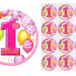 Edible Personalised Pink Balloons Rice Paper Cake/Cupcake Pack