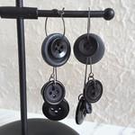 Statement Long button hoop earrings ( Black & Gray , Gothic Rock Funky Cool Art)