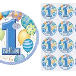 Edible Personalised Blue Balloons Rice Paper Cake/Cupcake Pack