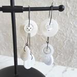 Statement Long button hoop earrings ( White , Art deco Avant garde Artsy Funky )