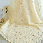 Cream Newborn Hearts & Bobbles Baby Blanket
