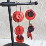 Statement Long button hoop earrings ( Red & Balck , Modern Art deco Unique )