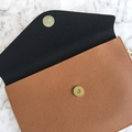 Monogrammed Envelope Clutch in Hazelnut Brown with detachable straps