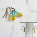 Simple small glass bead earrings (Skyblue Green Brown , Boho Minimalist Hippie)