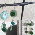 Statement Long button hoop earrings ( Green & Clear , Woodland Boho Hippie )