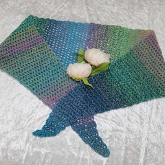 Blue Green and Purple Colour Blend Woolen Triangular Scarf