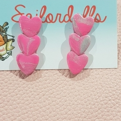 Trio of Hearts - polymer clay studs