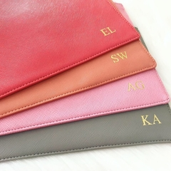 Coral Monogrammed Classic Pouch with wrist strap | Bridesmaids Gift