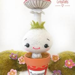 Cute pot plant mushroom creature, kawaii felt mushroom