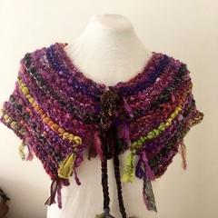 Hand Spun Hand Knit collar Scarf Recycled silk merino shades of purple berry