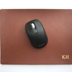 Monogram Mousepad | Office Decor | Real Full Grain Leather Hand Cut