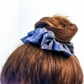 Grey textured cotton scrunchie - Large