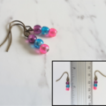 Water color small glass bead earrings (Purple Skyblue Pink , Artsy Funky Cute )